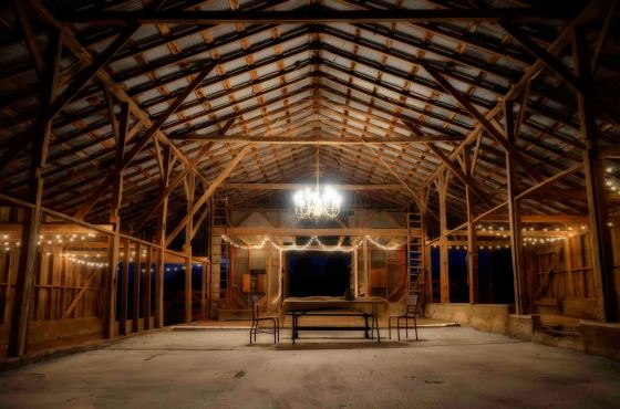 barn wedding venue pic night